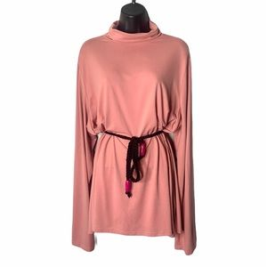 Plus Size Doublju Long Sleeve Pink Turtleneck Top